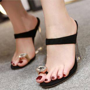 Transparent wedge heel high heel rhinestone toe sandals and slippers NHSO147549's discount tags