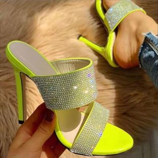 European and American style explosion ladies sandals large size rhinestone slippers NHSO147584's discount tags
