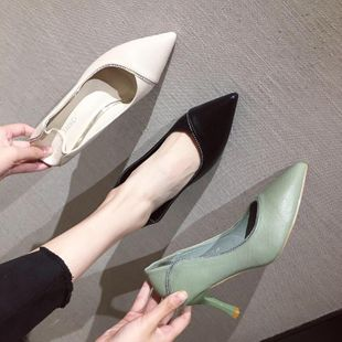 Fashion high-heeled pointed toe shallow mouth two shoes NHSO147588's discount tags