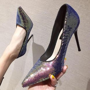 Slim high heel pointed shallow mouth sequin sexy shoes NHSO147598's discount tags