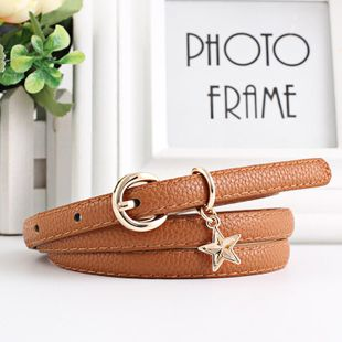 New fashion star pendant pin buckle imitation leather belt NHPO147718's discount tags