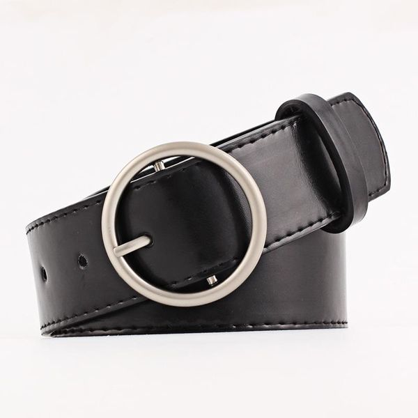 New round buckle solid color wide women belt NHPO147728