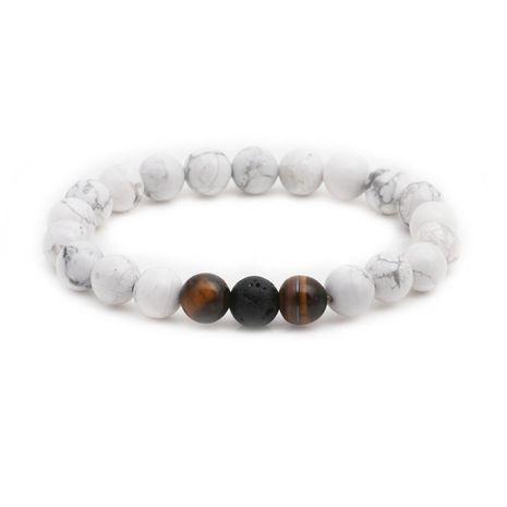 Bracelet perlé en pierre volcanique blanc turquoise NHYL147797's discount tags