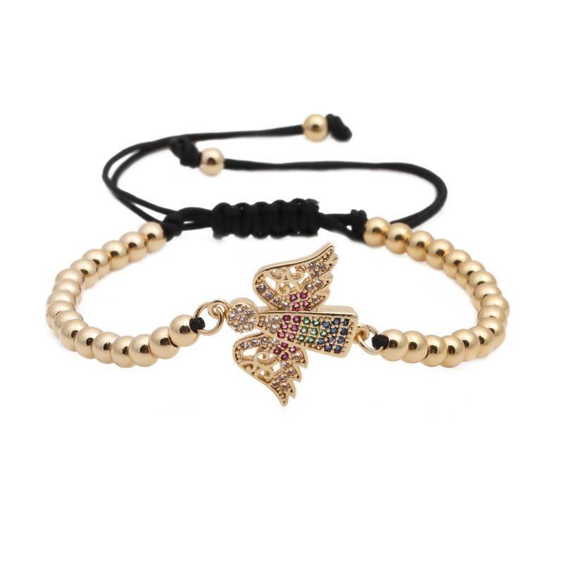 Fashion micro-inlaid zircon copper beads woven bracelet NHYL147801
