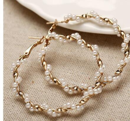 Unisex Geometric Alloy  Artificial Beads Earrings NHPJ147848