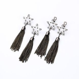 Womens Fringe Rhinestone Alloy Earrings NHQD147934's discount tags