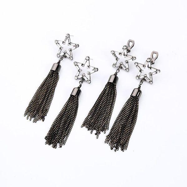 Womens Fringe Rhinestone Alloy Earrings NHQD147934