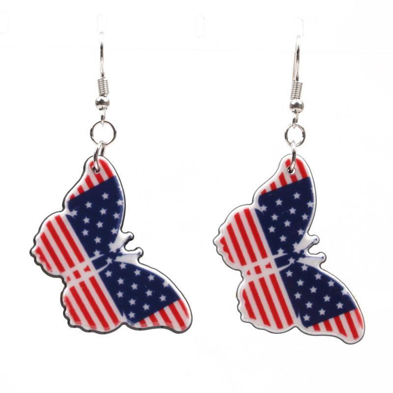 Couple Style  Mens  Womens Butterfly  Heart Shape  Flag Acrylic Earrings NHYL147936