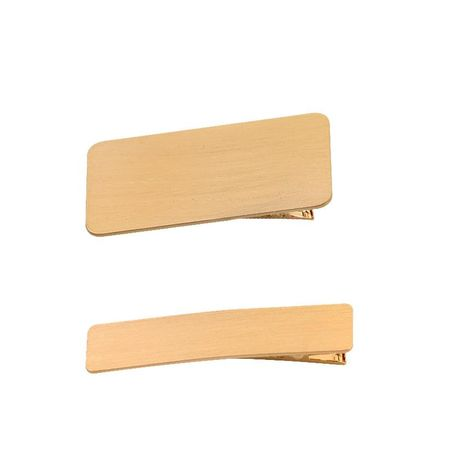 Simple geometric metal brushed side clip large duckbill clip NHHN147944's discount tags