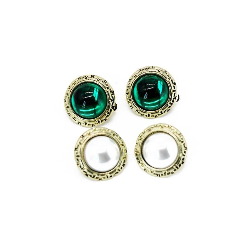 Vintage round alloy pattern beads earrings NHOM147951