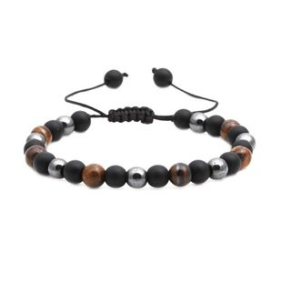 Fashion natural stone black matte woven bracelet NHYL147958's discount tags