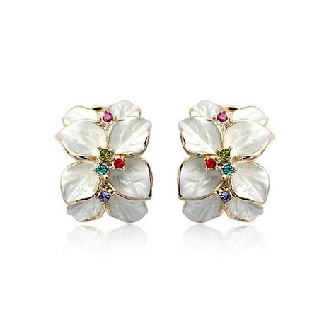 Fashionable flower-like red petals earrings NHLJ147959's discount tags