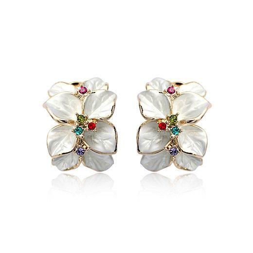Fashionable flower-like red petals earrings NHLJ147959