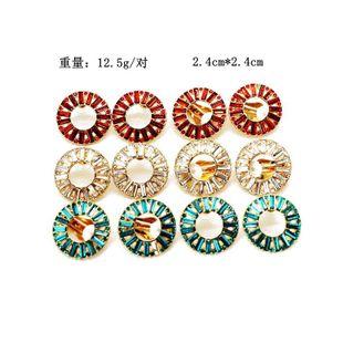 Fashion red white blue long drill round rhinestone earrings NHOM147971's discount tags
