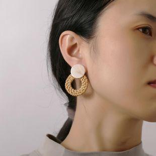 Simple acrylic wooden woven earrings NHPJ147973's discount tags
