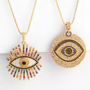Sleek minimalist micro-inlaid zircon demon eye necklace NHAS147974's discount tags