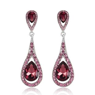 Retro water drop imitated crystal earrings NHDR147975's discount tags