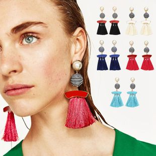 Womens geometric retro  fabric  tassel  exaggerated alloy retro  ethnic style  Bohemian Earrings NHPJ147982's discount tags