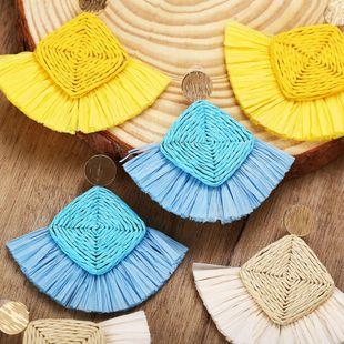 Creative vintage ethnic style rattan Raffia earrings NHPJ147991's discount tags