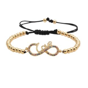 Fashion micro-set zircon adjustable letter 8 word bracelet NHYL147996's discount tags