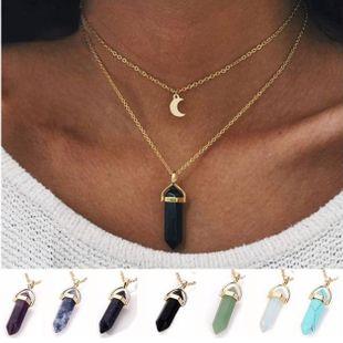 Fashion double moon moon crescent bullet spirit pendulum necklace NHPJ147999's discount tags