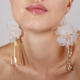 Creative Flower Rhinestone Tassel Earrings NHPJ148000's discount tags