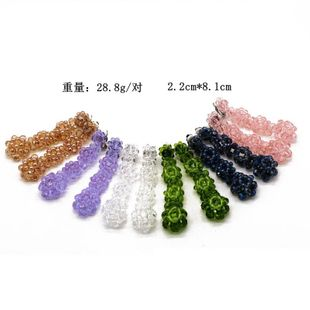 Fashion woven glass beads imitated crystal beads long woven flower ear clip NHOM148007's discount tags