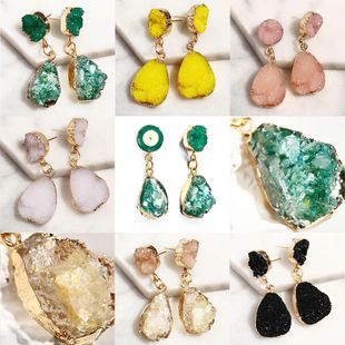 Creative vintage inlaid imitated crystal candy color drop ear studs NHPJ148012's discount tags