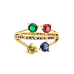 Stylish three-layer colored gemstone zircon ring NHYL148016's discount tags