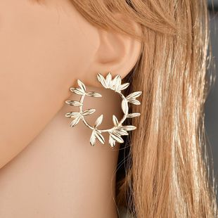 Fashion flower metal leaf earrings NHLN148026's discount tags