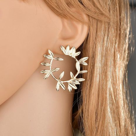 Fashion flower metal leaf earrings NHLN148026's discount tags