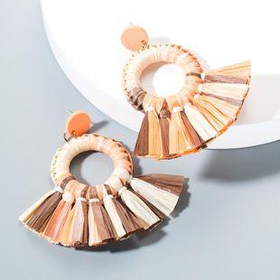 New fan-shaped colored Raffia earrings NHLN148031's discount tags