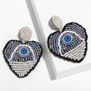 New Devil s Eye Color Heart Bead Earrings NHAS148033's discount tags