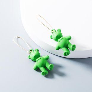 Cartoon bear bright long earrings NHLN148041's discount tags