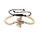 Fashion microinlaid zircon copper beads woven bracelet NHYL147801