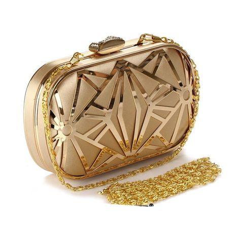 Bolso de mano de malla de hierro calado de moda NHYG139620's discount tags