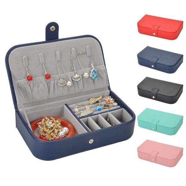 New leather jewelry boxes simple lychee travel jewelry cases NHHW148072