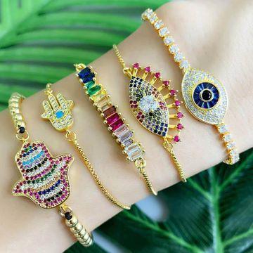 New copper inlaid zircon palm devil s eye women bracelet NHAS148106