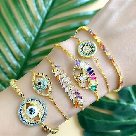 Simple copper inlay zircon demon eye bracelet NHAS148107's discount tags
