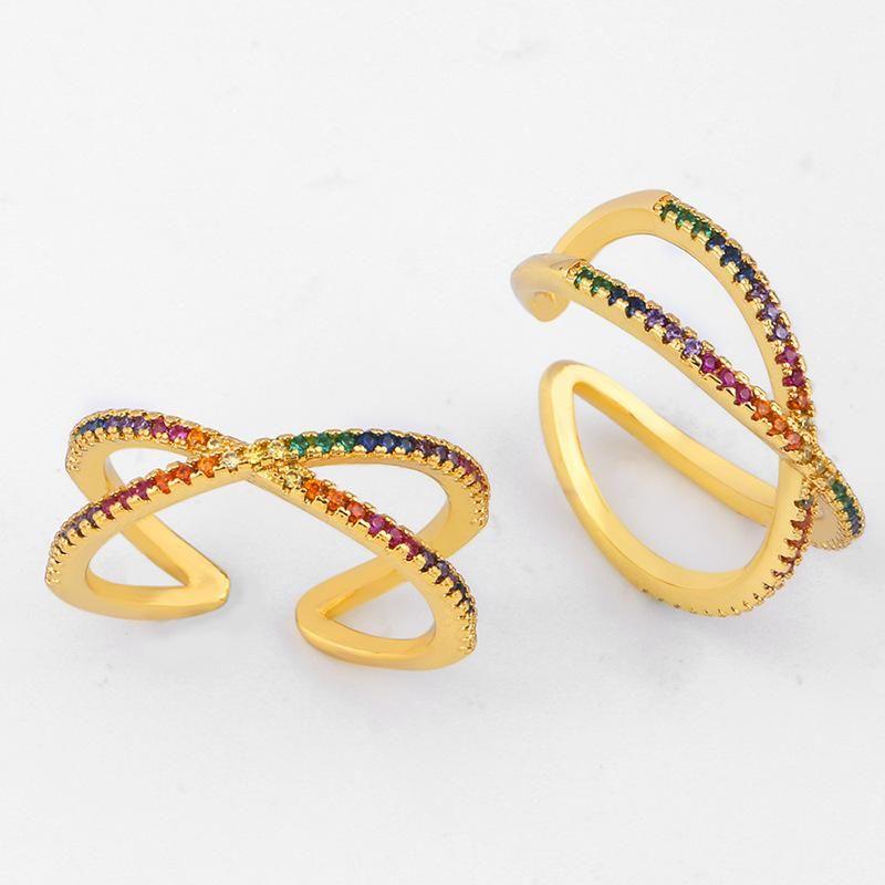Nuevo anillo cruzado geométrico con incrustaciones de cobre con incrustaciones de color circonita NHAS148113