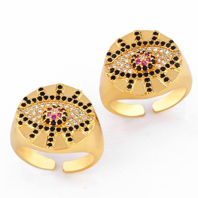 Fashion copper inlaid zircon evil s eye open rings NHAS148115