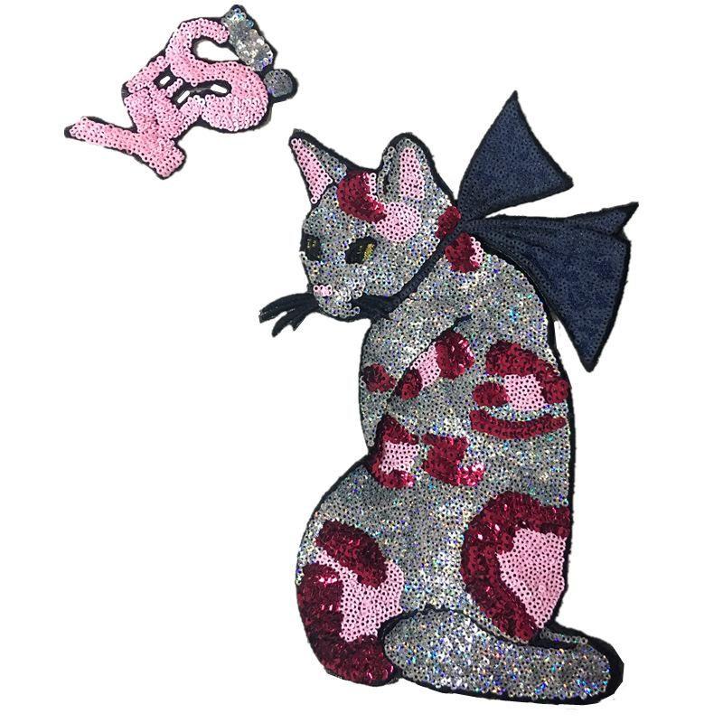 Cartoon English Butterfly Cat Sequin T-shirt NHLT148134