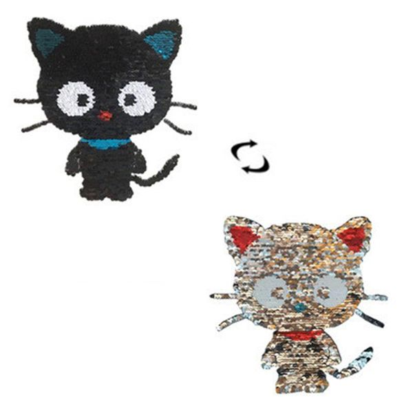 Cute cartoon double-sided black cat flip film sequin embroidery cloth stickers NHLT148139