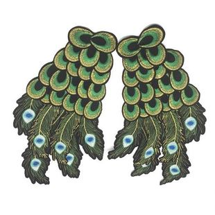 Embroidered Domineering Peacock Feather Wings NHLT148159's discount tags