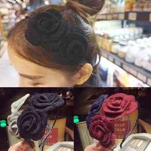 Sweet handmade wool three-dimensional flower headband NHSM148169's discount tags