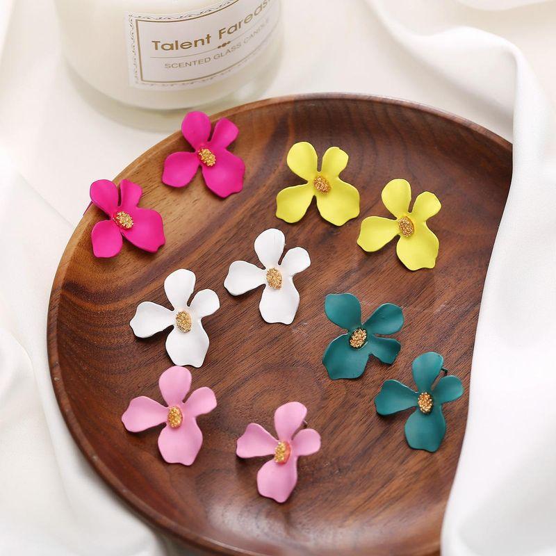 Womens Floral Paint Alloy Earrings NHLN148182