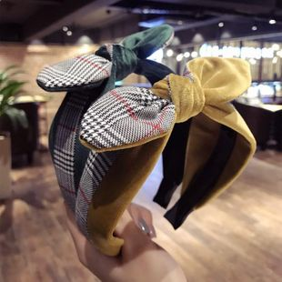 Plaid striped stitching rabbit ears bow wide-brimmed headband NHSM148195's discount tags