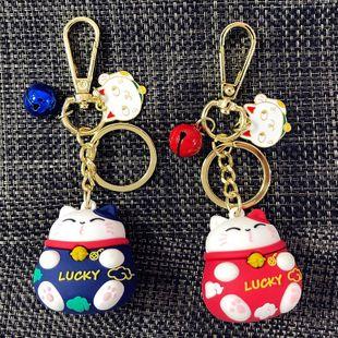 Creative cartoon new Epoxy Lucky Cat Keychain NHBM148203's discount tags