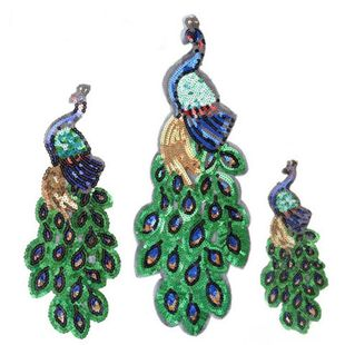 Embroidered beads peacock sequin set cloth stickers NHLT148204's discount tags