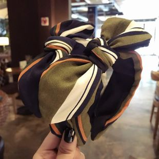 Retro classic contrast color striped big rabbit ears bow wide side headband NHSM148224's discount tags